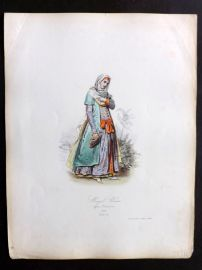 Pauquet 1868 Hand Col Costume Print. Mogul Woman in 1660 India